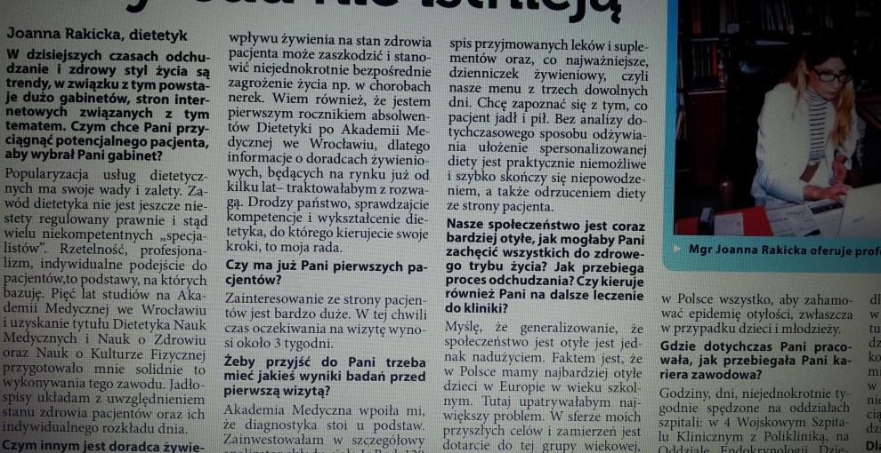 Joanna Rakicka dietetyk medyczny wywiad w panoramie trzebnickiej