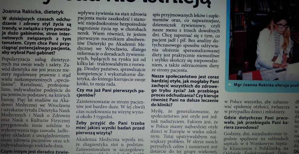 Joanna Rakicka Dietetyk wywiad Panorama Trzebnicka